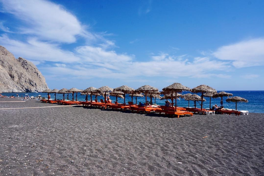 Black Sandy Beach in Santorini